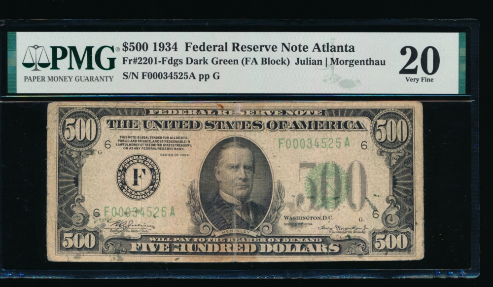 Fr. 2201-F 1934 $500  Federal Reserve Note Atlanta PMG 20 comment F00034525A