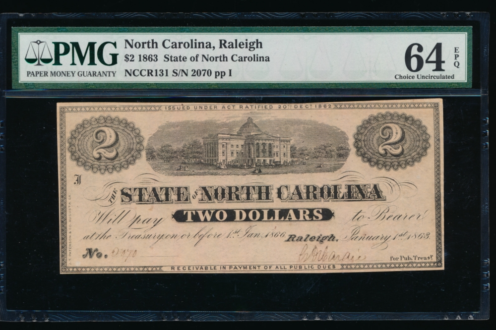 Fr. Cr NC-131 1863 $2  Obsolete State of North Carolina, Raleigh PMG 64EPQ 2070 I