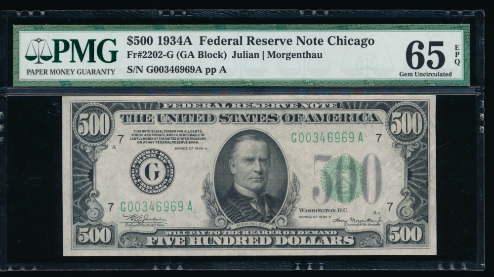 Fr. 2202-G 1934A $500  Federal Reserve Note Chicago PMG 65EPQ G00346969A obverse