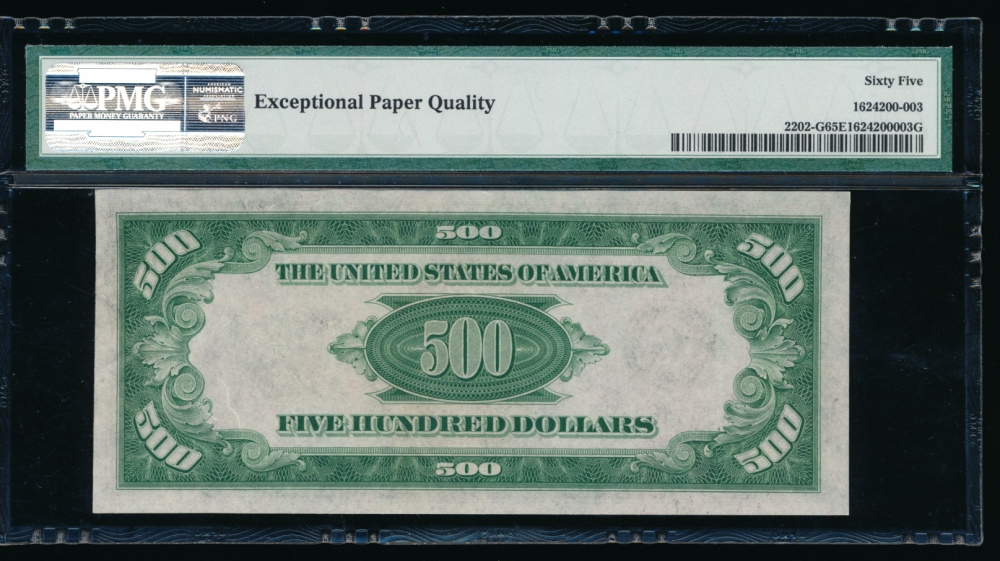 Fr. 2202-G 1934A $500  Federal Reserve Note Chicago PMG 65EPQ G00346969A reverse