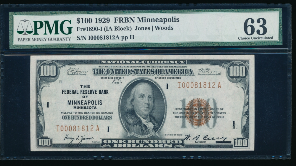 Fr. 1890-I 1929 $100  FRBN Minneapolis PMG 63 I00081812A