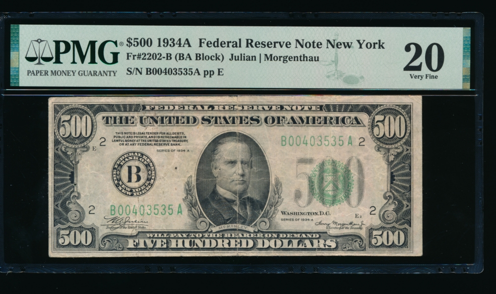Fr. 2202-B 1934A $500  Federal Reserve Note New York PMG 20 comment B00403535A