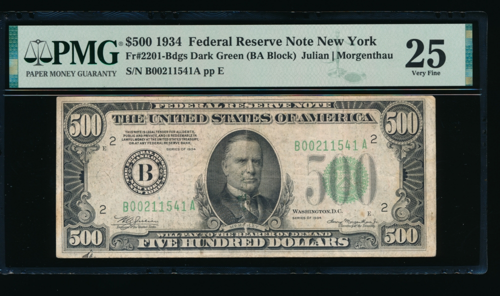 Fr. 2201-B 1934 $500  Federal Reserve Note New York PMG 25 B00211541A