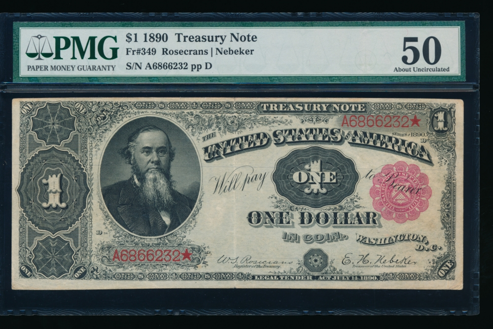 Fr. 349 1890 $1  Treasury Note  PMG 50 comment A6866232*