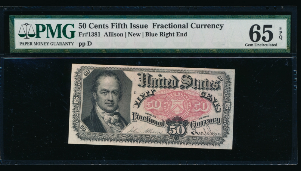 Fr. 1381  $0.50  Fractional Fifth Issue: Blue Right End PMG 65EPQ no serial number