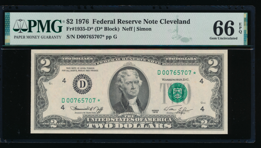 Fr. 1935-D 1976 $2  Federal Reserve Note Cleveland star PMG 66EPQ D00765707*