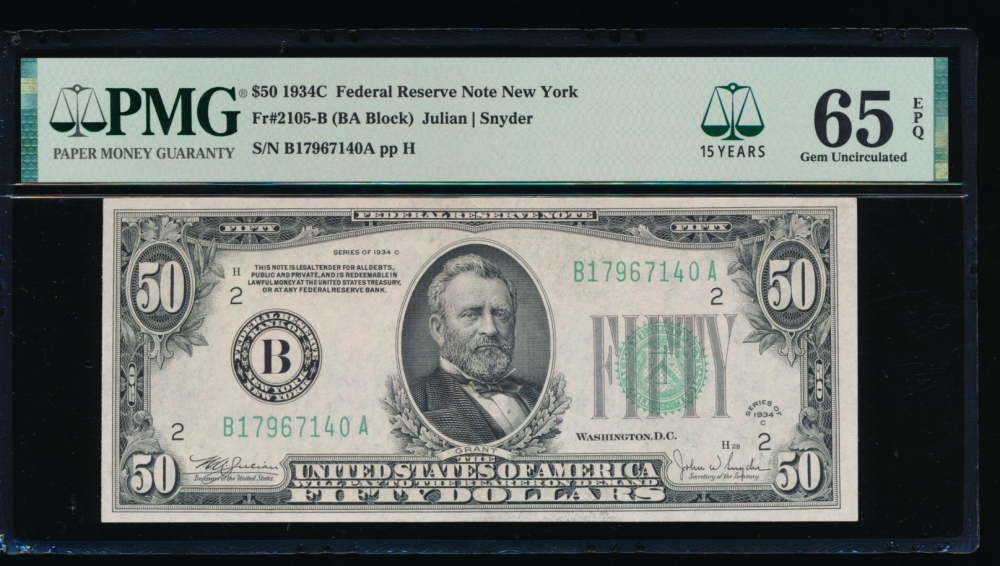 Fr. 2105-B 1934C $50  Federal Reserve Note New York PMG 65EPQ B17967140A