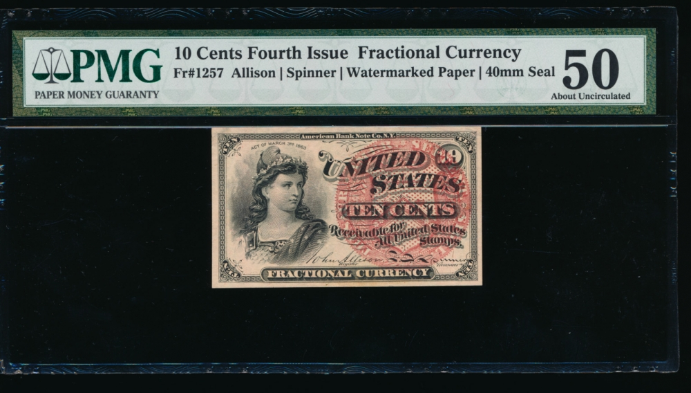 Fr. 1257  $0.10  Fractional Fourth Issue: 40mm seal, Watermarked paper PMG 50 no serial number