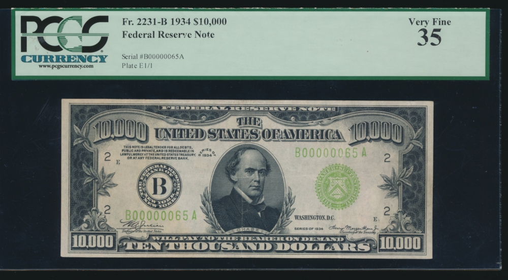Fr. 2231-B 1934 $10,000  Federal Reserve Note New York PCGS-C 35 B00000064A obverse