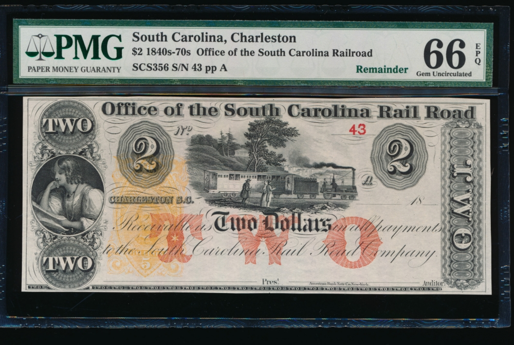 Fr. SCS356 1800s $2  Obsolete Office of the South Carolina Rail Road, Charleston, SC PMG 66EPQ 43A