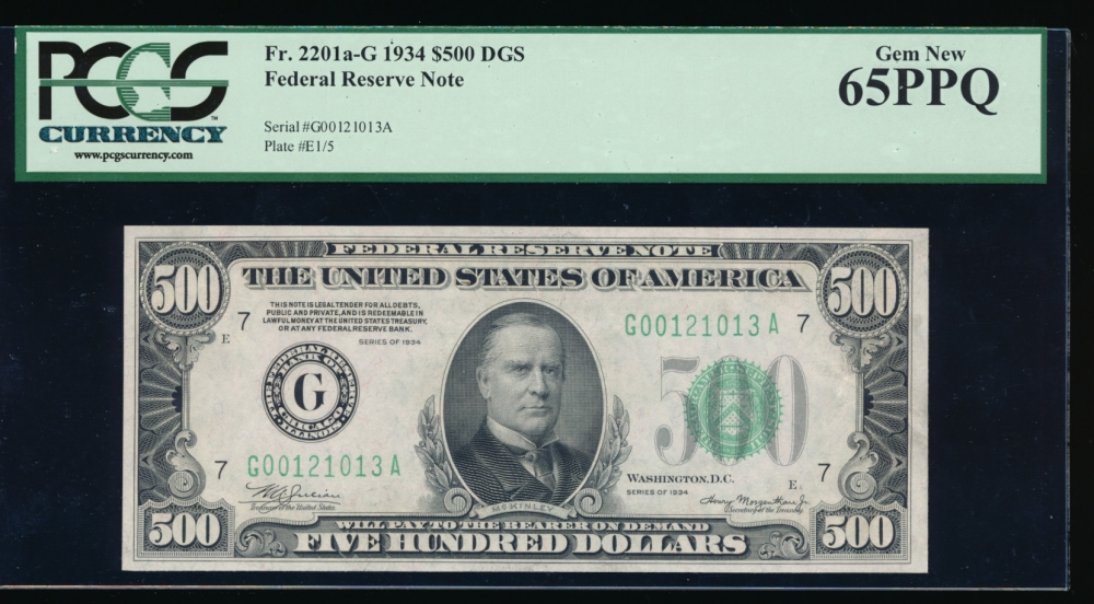 Fr. 2201-G 1934 $500  Federal Reserve Note  PCGS-C 65PPQ G00121013A