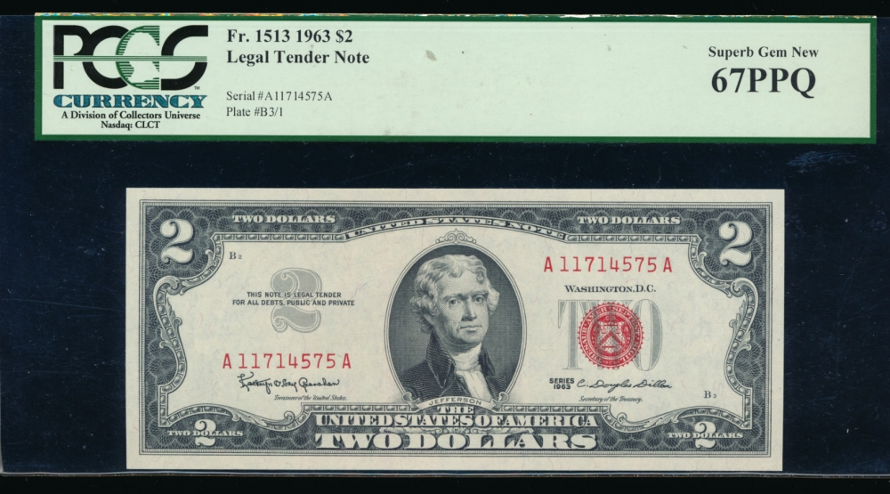 Fr. 1513 1963 $2  Legal Tender AA block PCGS-C 67PPQ A11714575A
