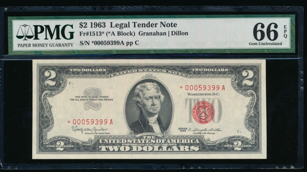 Fr. 1513 1963 $2  Legal Tender *A block PMG 66EPQ *00059399A