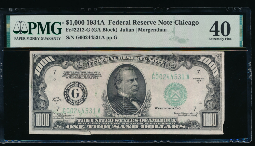 Fr. 2212-G 1934A $1,000  Federal Reserve Note Chicago PMG 40 comment G00244531A