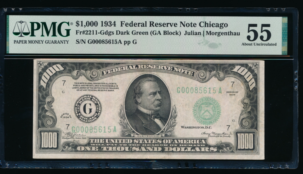 Fr. 2211-G 1934 $1,000  Federal Reserve Note Chicago PMG 55 G00085615A obverse