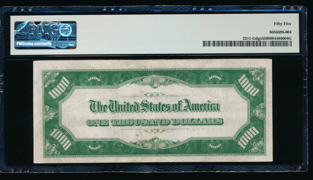 Fr. 2211-G 1934 $1,000  Federal Reserve Note Chicago PMG 55 G00085615A reverse