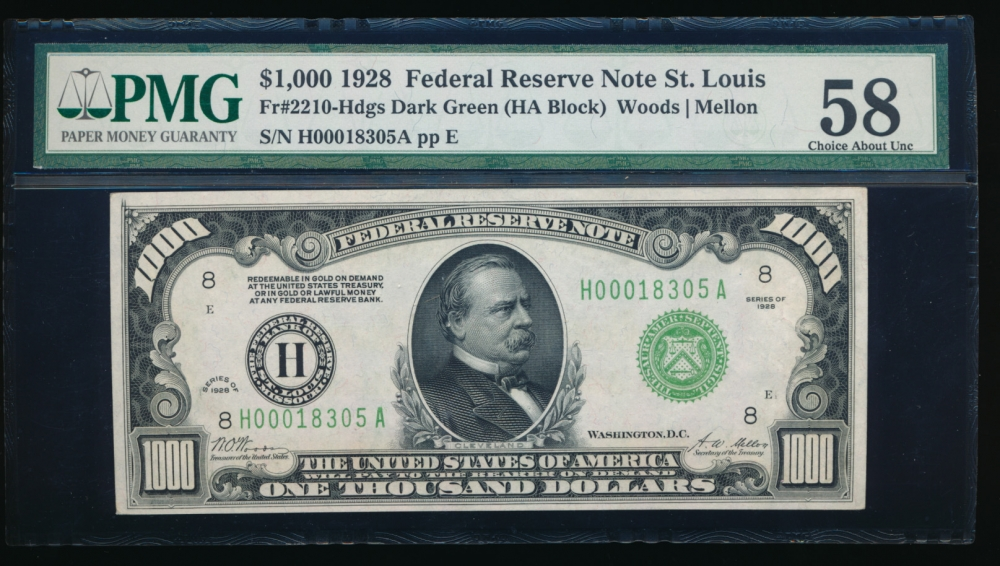 Fr. 2210-H 1928 $1,000  Federal Reserve Note Saint Louis PMG 58 H0018305A