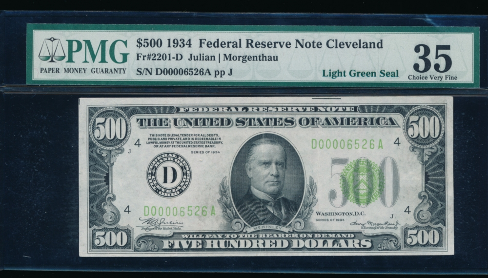 Fr. 2201-D 1934 $500  Federal Reserve Note Cleveand LGS PMG 35 D00006526A