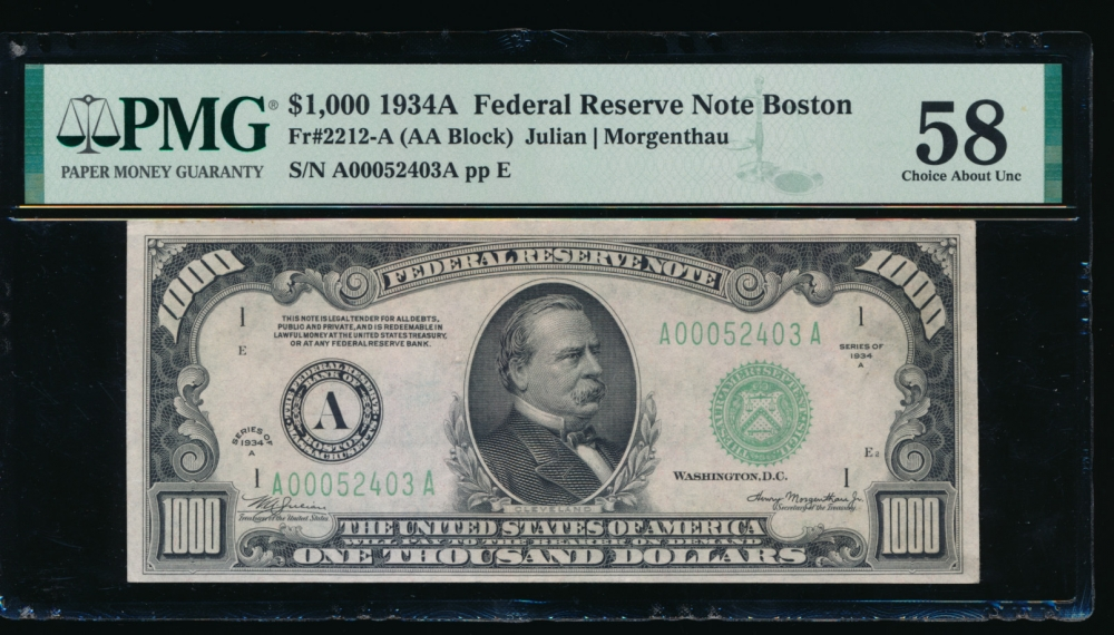 Fr. 2212-A 1934A $1,000  Federal Reserve Note Boston PMG 58 comment A00052403A