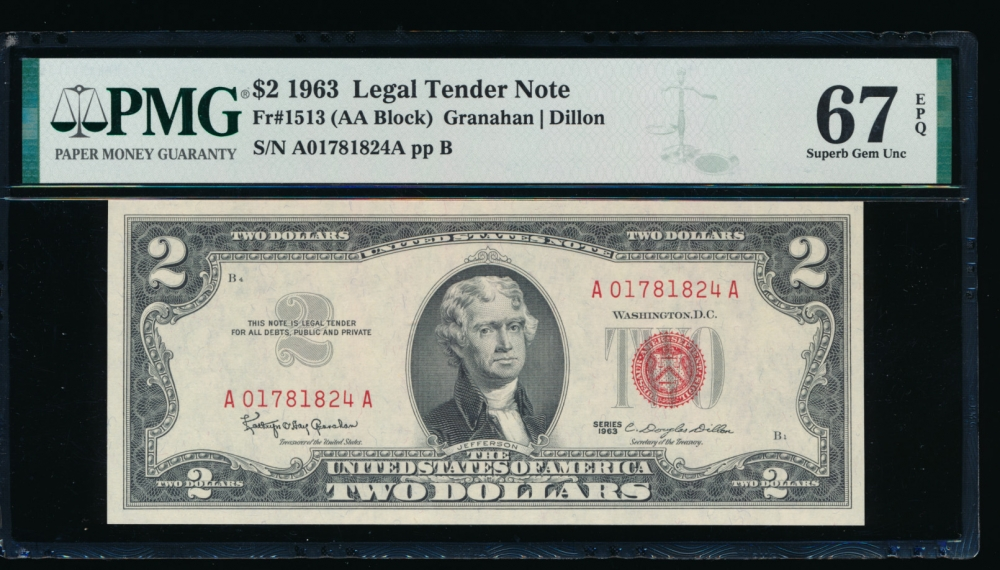 Fr. 1513 1963 $2  Legal Tender AA block PMG 67EPQ A01781824A