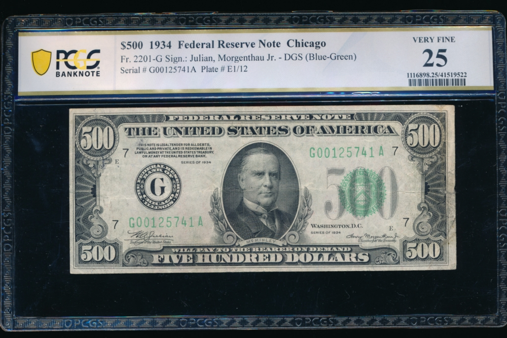 Fr. 2201-G 1934 $500  Federal Reserve Note Chicago PCGS 25 comment G00125741A