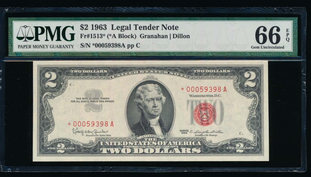 Fr. 1513 1963 $2  Legal Tender *A block PMG 66EPQ *00059398A