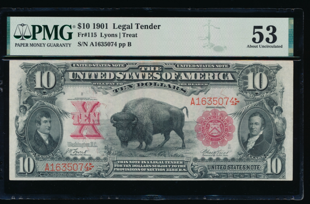 Fr. 115 1901 $10  Legal Tender  PMG 53 comment A1635074