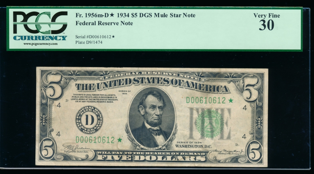 Fr. 1956-D 1934 $5 Federal Reserve Note Cleveland star mule PCGS 30 D00610612*