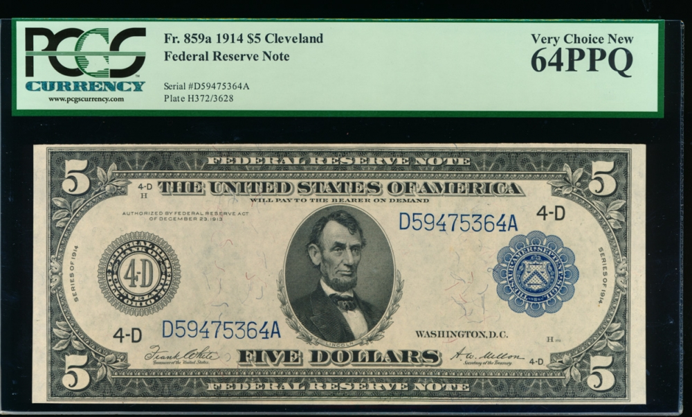 Fr. 859a 1914 $5 Federal Reserve Note Cleveland PCGS 64PPQ D59475364A