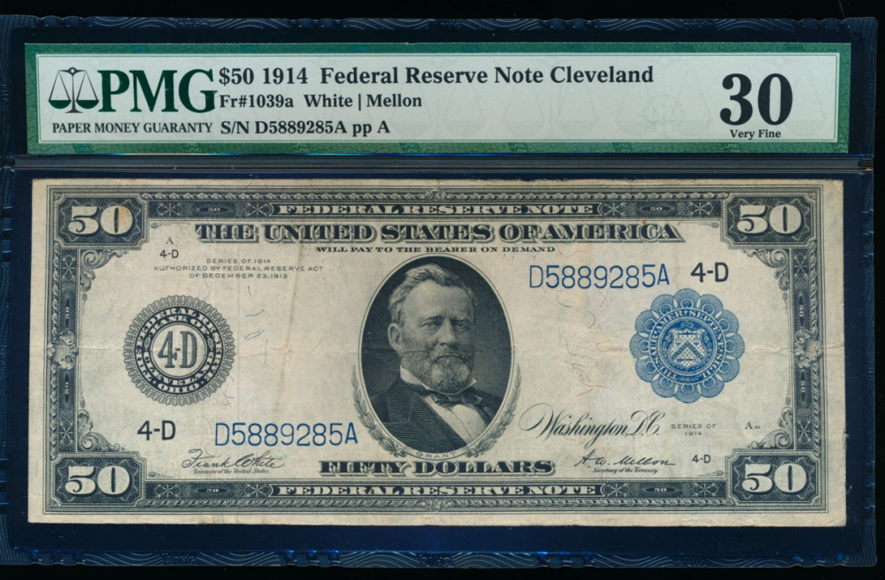Fr. 1039a 1914 $50 Federal Reserve Note Cleveland PMG 30 comment D5889285A